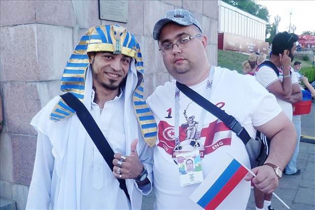 с болельщиком из Египта